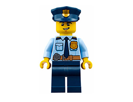 CTY743 Minifigure Police - City Shirt with Dark Blue Tie