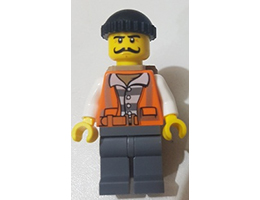 CTY754 Minifigure  Police - City Bandit Male with Orange Vest